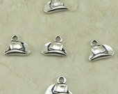 5 TierraCast Western Cowboy Hat Charms > Silver Plated Lead Free Pewter - I ship Internationally 2283