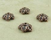 4 TierraCast 10mm Oak Leaf Bead Caps > Leaves Fall Autumn Tree Spring - Copper Plated Lead Free Pewter - I ship Internationally 5579