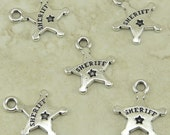 5 TierraCast Sheriff Badge Charms > Police Law Enforcement Deputy - Silver Plated Lead Free Pewter - I ship Internationally 2284