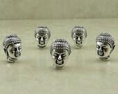 5 TierraCast Buddha Head Beads > Buddhist Yoga Zen Spiritual Enlightenment - Lead Free Silver Plated Pewter - I ship internationally 5718