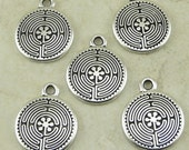 5 Small TierraCast Labyrinth Maze Charms > Serenity Meditation Zen - Fine Silver plated Lead Free Pewter - I ship Internationally 2326