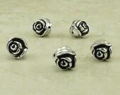 5 TierraCast Rose Flower Beads > Floral Garden Bride Bridal Wedding Spring - Silver Plated Lead Free Pewter - I ship Internationally 5611