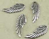 4 TierraCast Angel Fairy Wing Charms > Cupid Valentine Love Goth Gothic - Silver Plated Lead Free Pewter - I ship Internationally 2341
