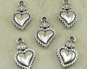 5 TierraCast Sacred Heart Milagro Charm > Day of the Dead Valentine Love - Silver-plated Lead Free Pewter - I ship Internationally 2322