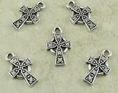 5 TierraCast Small Celtic Cross Charms > Irish Catholic Religion - Silver Plated Lead Free Pewter - I ship Internationally 2089