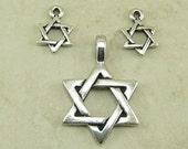 3 Pieces TierraCast Star of David Pendant Charm Mix - Passover Hanukkah Jewish Fine Silver Plated Lead-Free pewter - I ship Internationally