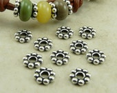 10 TierraCast 8mm Large Hole Daisy Spacer Beads > Silver Plated LEAD FREE Pewter - I ship Internationally 5689