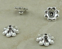 4 TierraCast 11mm Scalloped Bead Caps - Fine Silver Plated LEAD FREE pewter - I ship internationally - 5589-12
