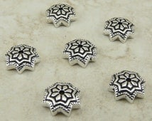 6 Tierra Cast 8mm Ornate Talavera Star Bead Caps - Silver Plated Lead Free Pewter - I ship Internationally 5751