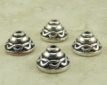4 TierraCast 8mm Celtic Knot Bead Caps > Irish St Patricks Day Ireland - Silver Plated Lead Free Pewter - I ship Internationally 5503