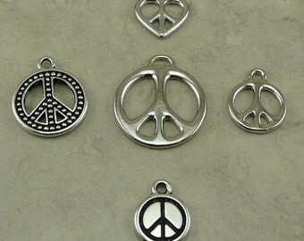 5 World Peace Sign Symbol Charms Mix Pack > Love Not War Activism Hippy - TierraCast Lead Free Pewter - I ship Internationally