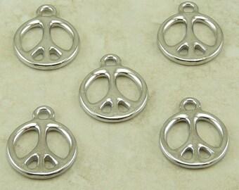 TierraCast Medium Peace Sign Symbol Charms / Hippy Love World Peace Anti War - Rhodium Silver Plated Lead Free Pewter 2294