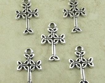 5 TierraCast Medium Celtic Cross Charms * Irish St Patrick's Day Catholic - Silver Plated LEAD FREE Pewter - I ship Internationally 2193