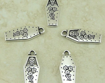 5 TierraCast Coffin Day of the Dead Charms * Halloween Skeleton Gothic - Silver Plated Lead Free Pewter - I ship internationally 2323