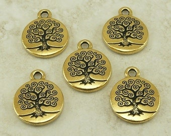 5 Small TierraCast Spiral Tree of Life Charms > Bodhi Buddhist Mother Earth 22kt Gold plated Lead Free Pewter - I ship Internationally 2303
