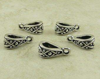 5 Tierra Cast Legend Bails > Pendant Finding Bali Style XO - Fine Silver Plated LEAD FREE Pewter - I ship Internationally 5688