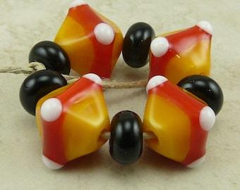 Candy Corn Crystals - Trick or Treat Halloween Colors Orange Red Yellow Black  - Lampwork Bead Set - SRA - I ship Internationally