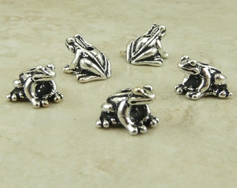 5 TierraCast Frog Froggy Beads > Kermit Amphibian Pet Swamp - Silver Plated  LEAD FREE pewter - I ship Internationally 5523