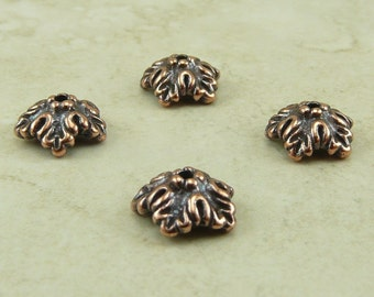4 TierraCast 10mm Oak Leaf Bead Caps > Leaves Fall Autumn Tree Spring - Copper Plated Lead Free Pewter - I ship Internationally 5579
