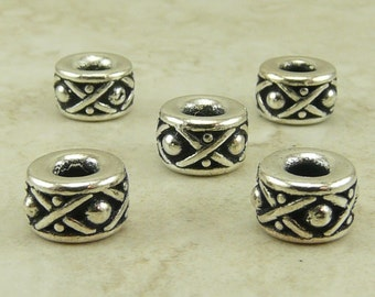 5 Legend 8mm Large Hole Spacer Beads > XO Bali Style Western Cowboy - Tierra Cast Silver Plated Lead Free Pewter I ship Internationally 5687