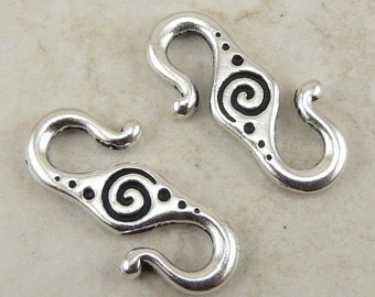 2 TierraCast Celtic Spiral S Hook Clasps > Swirl Dolman Stone Henge Tribal - Silver Plated Lead Free Pewter - I ship Internationally 6033