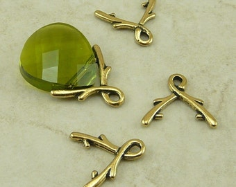 4 TierraCast Large 8mm Briolette Vine Pinch Icepick Bails > 22kt Gold Plated Lead Free Pewter - I ship internationally 5668