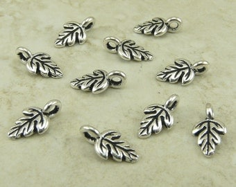 10 TierraCast Oak Leaf Charms - Silver Plated Lead Free Pewter  - I ship internationally 2174
