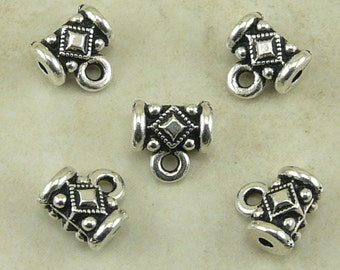 5 TierraCast Noble Bails > Gothic Industrial Ornate Charm Holder Steampunk -  Silver Plated Lead Free Pewter - I ship Internationally 5628