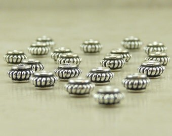 20 TierraCast 5mm Coiled Heishi Spacer Beads > Rope Western - Fine Silver Plated Lead Free Pewter - I ship Internationally 5583