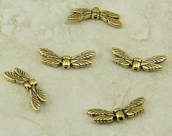 5 TierraCast Dragonfly Dragon Fly Wing Beads > Damsel Fly Insect Bug Garden Zen Yoga Pond - 22kt Gold Plated LEAD FREE Pewter 5588