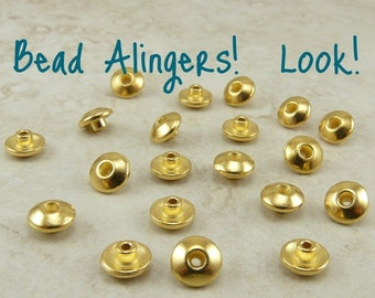 20 TierraCast Bead 6mm Classic Bead Aligner Bead Caps * Tierra Cast - 22kt Gold Plated Lead Free Pewter 5719