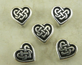 5 TierraCast Celtic Knot Heart Beads > Love Irish St Patricks Day Valentine - Silver Plated Lead Free Pewter - I ship internationally 5549