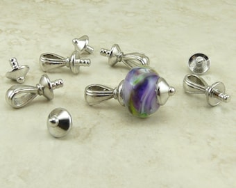 4 Sets TierraCast Nouveau Bail Glue In Pendant Bails with Caps * Rhodium plated Lead Free Pewter - I ship Internationally