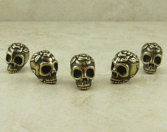 5 TierraCast Rose Skull Beads > Halloween Day of the Dead Goth Gothic - Brass Ox plated Lead Free Pewter- I ship internationally 5685