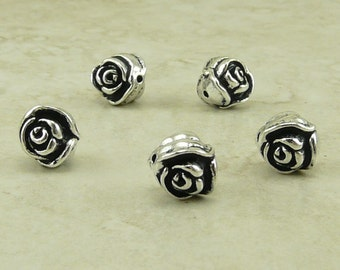 5 TierraCast Rose Flower Beads > Floral Garden Bride Bridal Wedding Spring - Silver Plated Lead Free Pewter - I ship Internationally 5611