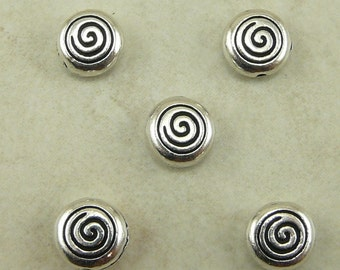 5 TierraCast Celtic Spiral Beads > Swirl Dolman Tribal - Silver Plated Lead Free Pewter - I ship internationally 5544