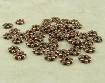 50 TierraCast 4mm Daisy Beaded Heishi Spacer Beads - Copper Plated Lead Free Pewter - I ship internationally 0408