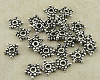 25 TierraCast 5mm Beaded Star Heishi Spacer Beads > Tierra Cast Fine Silver Plated Lead Free Pewter - I ship internationally 0416