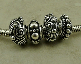 4 TierraCast Euro Slider Charm Bead Mix > Ornate Bali Style Spiral Beaded - Fine Silver Plated Lead Free Pewter - I ship Internationally