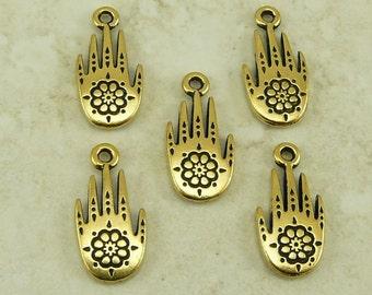 5 TierraCast Henna Hand Charms > Spiritual India Tattoo Zen - 22kt Gold Plated Lead Free Pewter - I ship Internationally 2179