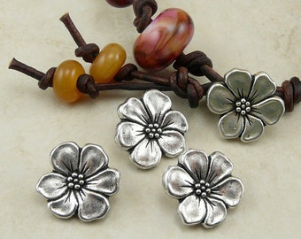 3 TierraCast Apple Blossom Flower Buttons > Floral Garden Wrap Spring Summer - Silver Plated LEAD FREE Pewter - I ship Internationally 6549