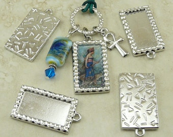 TierraCast DIY Altered Art Frame Rectangle Frame Charm - Rhodium-plated Lead Free Pewter - I ship Internationally 2314