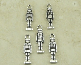 5 TierraCast Nutcracker Nut Cracker Charms - Christmas Holiday - Silver Plated Lead Free Pewter 2350