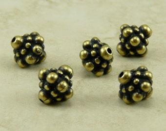 5 TierraCast Bali Style Bicone Pamada Beads - Brass Ox Plated Lead-Free pewter - I ship internationally 5677