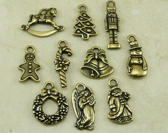 10 TierraCast Christmas Holiday Charms Mix Pack - Santa Angel Bells Candy Cane - Brass Ox Plated Lead Free Pewter - I ship Internationally