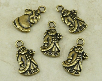 5 St Nick Charms - Santa Claus Christmas Holiday Victorian - TierraCast Brass Ox Plated Lead Free Pewter - I ship Internationally - 2348