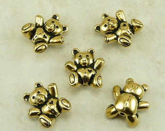 5 TierraCast Teddy Bear Beads > StuffedAnimal Plushie Ted -  22kt Gold Plated Lead Free Pewter - I ship Internationally 5683