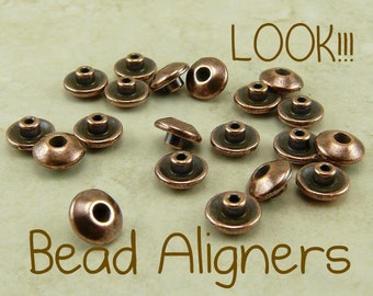 20 TierraCast Bead 6mm Classic Bead Aligner Bead Caps > Copper Plated Lead Free Pewter - I ship Internationally 5719