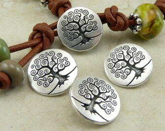 3 TierraCast Spiral Tree of Life Buttons > Bodhi Zen Nature Yoga Peace - Silver Plated LEAD FREE Pewter - I ship Internationally 6562