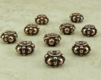 10 TierraCast Turkish Bali Style Spacer Beads - Copper Plated LEAD FREE Pewter - I ship Internationally 5580